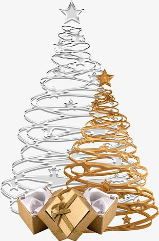 Gold And Silver Christmas Tree PNG