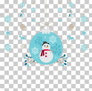 Christmas Card Snowman Party Illustration PNG