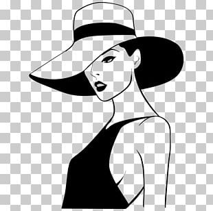 Woman With A Hat Cowboy Hat Drawing Illustration PNG