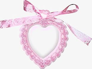 Pink Ribbon Heart Frame PNG