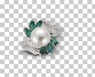 Pearl Emerald Gold Diamond Jewellery PNG