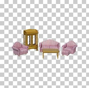 Chair Table Dollhouse Living Room PNG