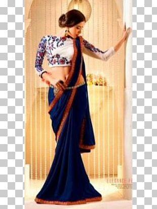 Banarasi Sari Georgette Royal Blue PNG