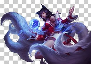League Of Legends Ahri Cosplay Wig Nine-tailed Fox PNG