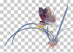 Ink Wash Painting Butterfly Chinese Painting Art PNG