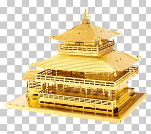 Kinkaku-ji Metal Earth Building Gold PNG