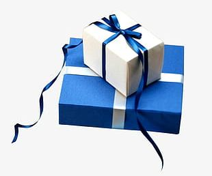 Blue White Gift Box Free To Pull The Material PNG
