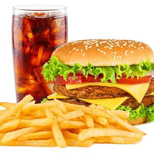 Fizzy Drinks Hamburger French Fries Chicken Sandwich Fast Food PNG