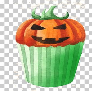 Cupcake Halloween Watercolor Painting PNG