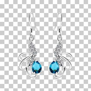 Earring Turquoise Silver Sapphire PNG