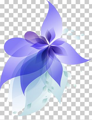 Blue Gradient Flowers PNG