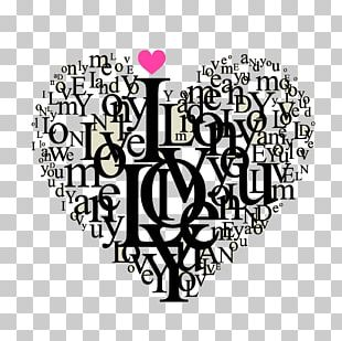 Love Heart Valentines Day Typography PNG