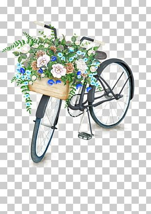 Bicycle Watercolor Painting Flower Stock Photography Illustration PNG