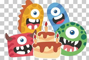 Monster Party Cartoon Birthday PNG