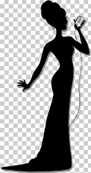 Silhouette Singing Singer Female PNG