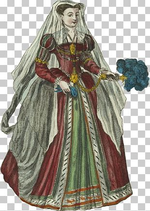 Robe Middle Ages Gown Costume Design PNG