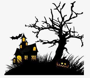 Halloween Black Background Decoration PNG