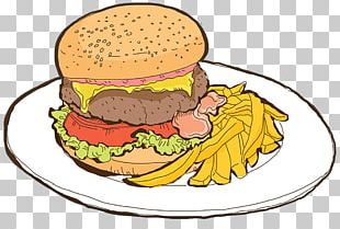 Cheeseburger Hamburger Fast Food French Fries Cafe PNG