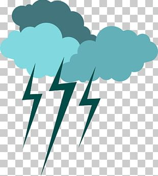 Blue Flat Lightning Weather Icon PNG
