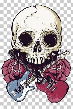T-shirt Calavera Skull Rock Music PNG