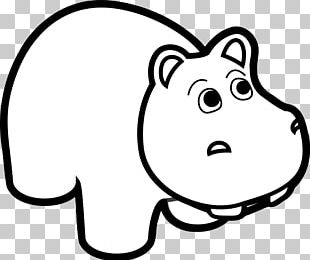 Hippopotamus Cartoon Black And White PNG