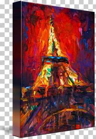 Eiffel Tower Modern Art Painting Canvas Print PNG