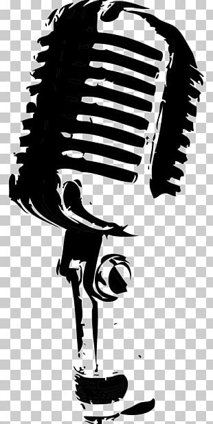 Microphone Drawing Black And White PNG