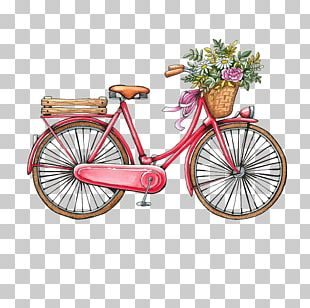 Bicycle Vintage Clothing Watercolor Painting PNG