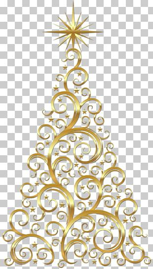 Transparent Gold Deco Christmas Tree PNG