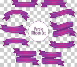 Purple Ribbon Design Material PNG