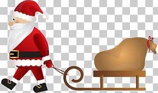Santa Claus Rudolph Sled Christmas PNG