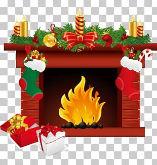 Santa Claus Christmas Fireplace Chimney PNG