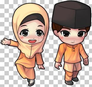 Chibi Baju Kurung Cartoon PNG