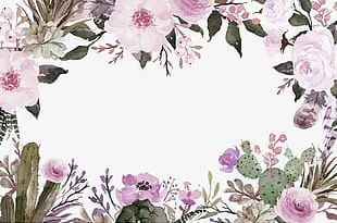 Purple Fresh Flowers Border Texture PNG