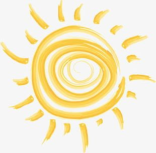 Hand Painted Cartoon Golden Watercolor Sun PNG