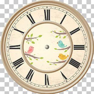 Clock Roman Numerals Birds PNG