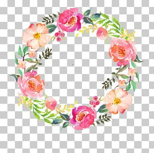 Watercolour Flowers Wreath Watercolor Painting Garland PNG