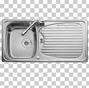 Kitchen Sink Top View Faucet Handles Controls Stainless Steel Png