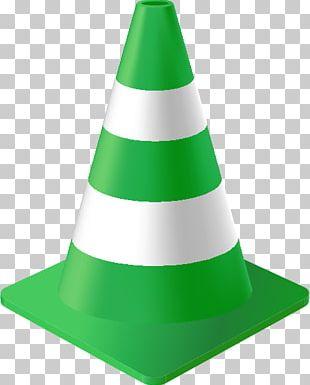Traffic Cone Green Color Orange PNG