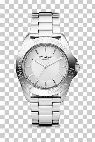 Quartz Clock Watch Silver Dial PNG