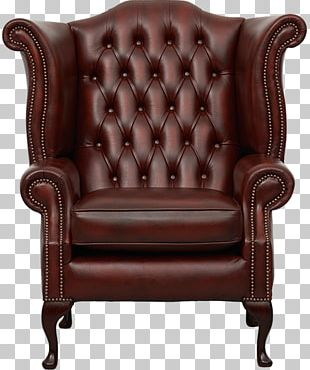 Chesterfield Wing Chair Couch Queen Anne Style Furniture PNG