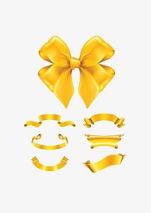 Gold Ribbon Bow PNG