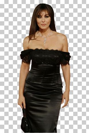 Monica Bellucci Little Black Dress Fashion Model Satin Photo Shoot PNG