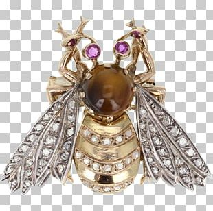 Brooch Bee Gold Insect Diamond PNG