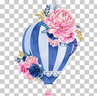 Watercolor Painting Hot Air Balloon Watercolour Flowers PNG