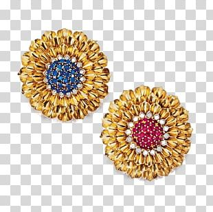 Earring Ruby Gemstone Gold PNG