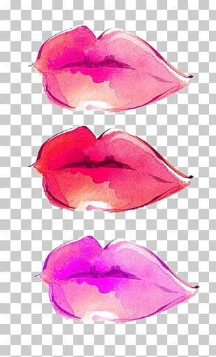 Lip Watercolor Painting Computer File PNG