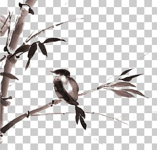 Ink Wash Painting Drawing Bamboo Japanese Art PNG