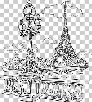 Eiffel Tower Seine Drawing PNG