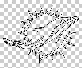 Miami Dolphins Logo Black And White Drawing PNG